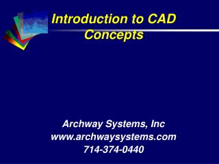 Introduction to CAD Concepts