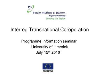 Interreg Transnational Co-operation
