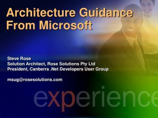Architecture Guidance From Microsoft