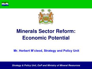 Minerals Sector Reform: Economic Potential