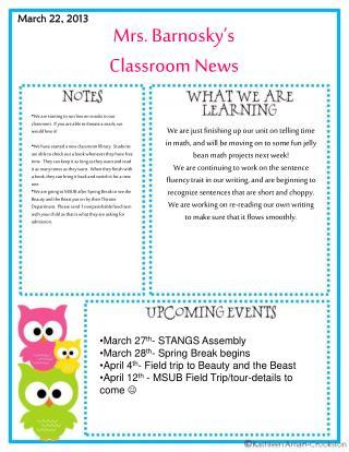 Mrs. Barnosky's  Classroom News