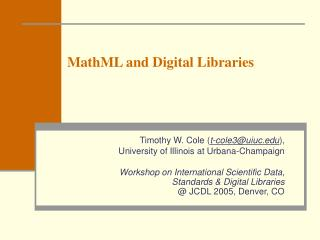 MathML and Digital Libraries