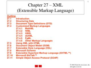 Chapter 27 – XML (Extensible Markup Language)
