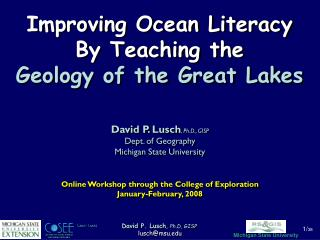 Improving Ocean Literacy  By Teaching the  Geology of the Great Lakes