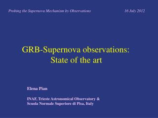 GRB-Supernova observations:              S tate of the art