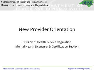 THE MENTAL HEALTH LICENSURE       PROCESS  PRESENTED BY THE   MENTAL HEALTH LICENSURE  CERTIFICATION SECTION