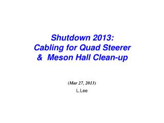 Shutdown 2013:  Cabling for Quad Steerer  &  Meson Hall Clean-up (Mar 27, 2013) L.Lee