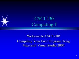 CSCI 230 Computing-I