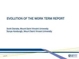 EVOLUTION OF THE WORK TERM REPORT