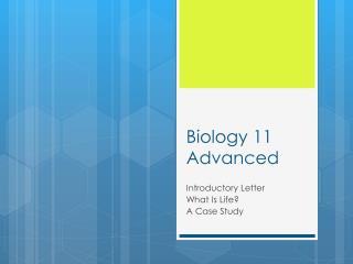 Biology 11 Advanced