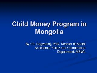 Child Money Program in Mongolia
