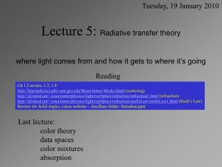 Lecture 5:  Radiative transfer theory  where light comes from and how it gets to where it's going