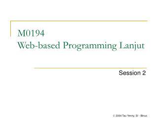 M0194  Web-based Programming Lanjut