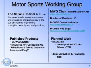 Motor Sports Working Group