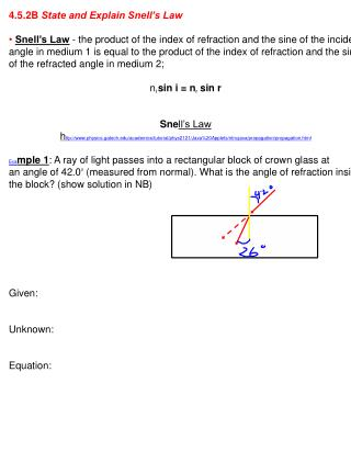4.5.2B  State and Explain Snell's Law