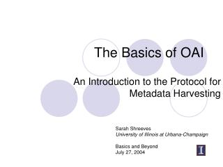 The Basics of OAI