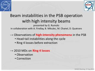Beam instabilities in the PSB operation with high intensity beams presented by G. Rumolo
