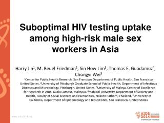 Suboptimal HIV testing uptake among high-risk male sex workers in Asia