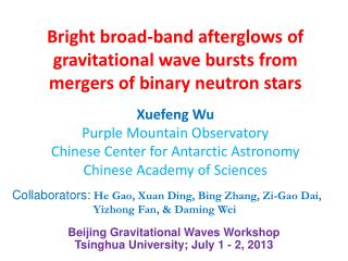 Bright broad-band afterglows of gravitational wave bursts from mergers of binary neutron stars