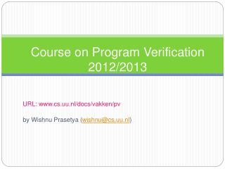 Course on Program Verification 2012/2013