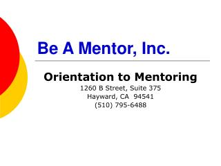 Be A Mentor, Inc.