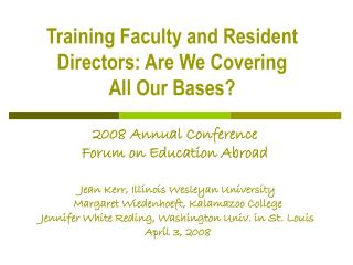 2008 Annual Conference Forum on Education Abroad