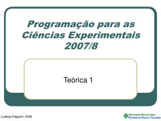 Programa��o para as Ci�ncias Experimentais 2007/8