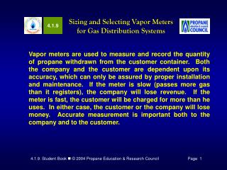 Sizing and Selecting Vapor Meters for Gas Distribution Systems