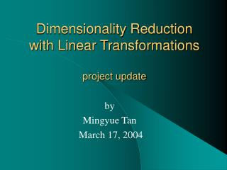 Dimensionality Reduction with Linear Transformations project update