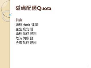 磁碟配額 Quota