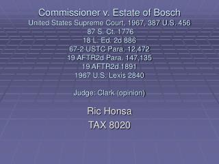 Ric Honsa  TAX 8020
