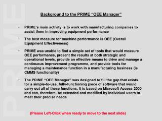 Background to the PRIME �OEE Manager�