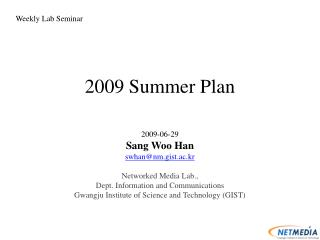 2009 Summer Plan