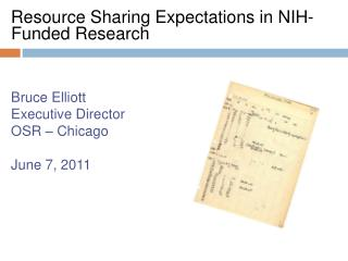 Resource Sharing Expectations in NIH-Funded Research Bruce Elliott Executive Director