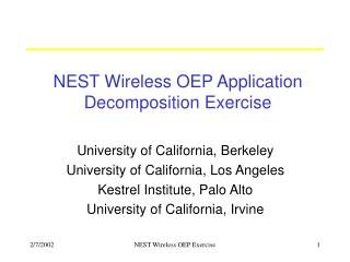 NEST Wireless OEP Application Decomposition Exercise