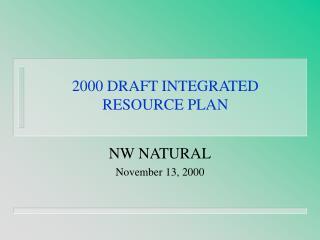 2000 DRAFT INTEGRATED  RESOURCE PLAN