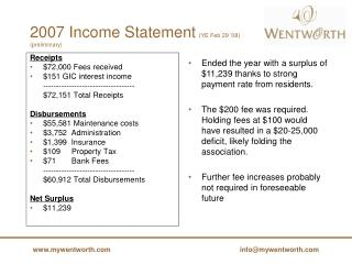 2007 Income Statement (YE Feb 29 '08)  (preliminary)