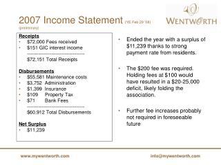 2007 Income Statement (YE Feb 29 '08)  (preliminary)