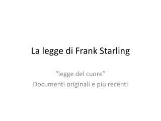 La legge di Frank Starling