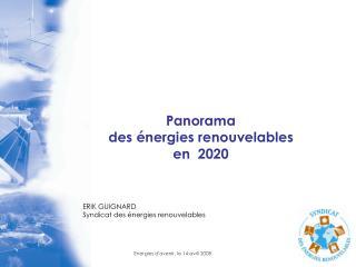Panorama  des énergies renouvelables  en  2020 ERIK GUIGNARD Syndicat des énergies renouvelables