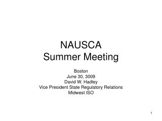 NAUSCA Summer Meeting