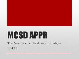 MCSD APPR