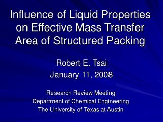 Influence of Liquid Properties on Effective Mass Transfer Area of Structured Packing