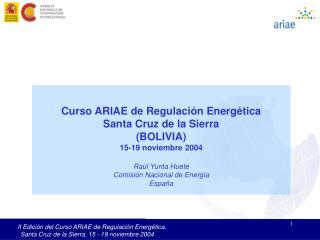Curso ARIAE de Regulación Energética Santa Cruz de la Sierra (BOLIVIA) 15-19 noviembre 2004