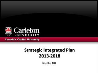 Strategic Integrated Plan  2013-2018