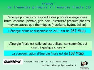 France :  de l'énergie primaire à l'énergie finale (1)