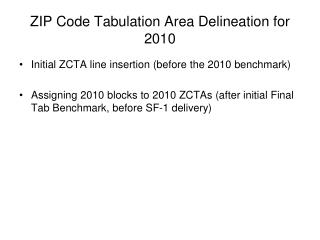 ZIP Code Tabulation Area Delineation for 2010