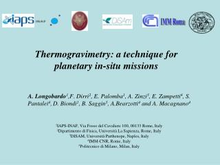 Thermogravimetry: a technique for planetary in-situ missions