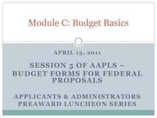 Module C:  Budget  Basics