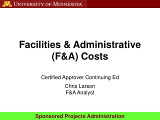 Facilities & Administrative (F&A) Costs